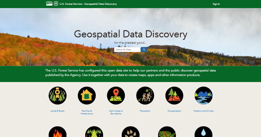 Preview of Forest Service's Geo-spatial Data Discovery Website
