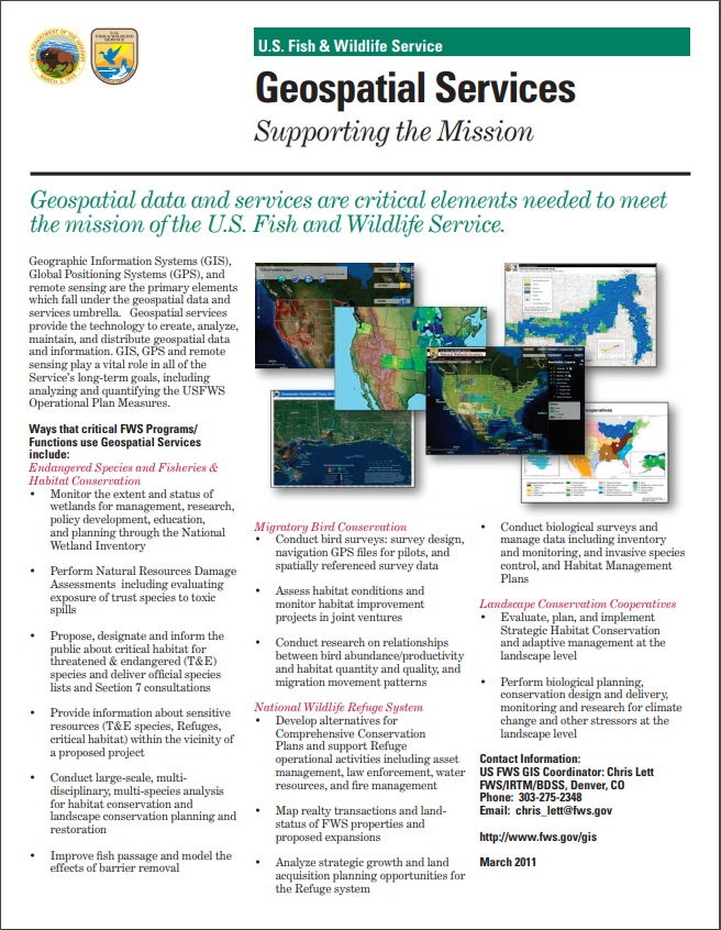 Thumbnail of Geospatial Services within the U.S. Fish and Wildlife Service